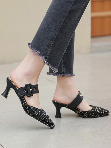 Milanoo Mid-Low Heels For Woman Elegant Pointed Toe Goblet Heel Slip-On Glamorous Buckle Black Pumps Heels
