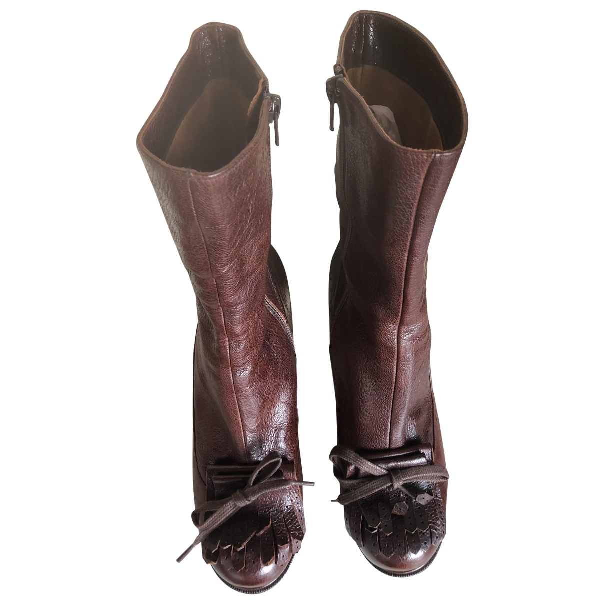 Chie Mihara \N Burgundy Leather Ankle boots for Women 39 EU