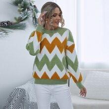 Pullover mit Chevron Muster und sehr tief angesetzter Schulterpartie