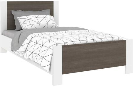 Sirah Collection 108220-000047 Twin Size Platform Bed with Low Profile Footboard  Two-Tone Design  Laminated Materials and High-Density