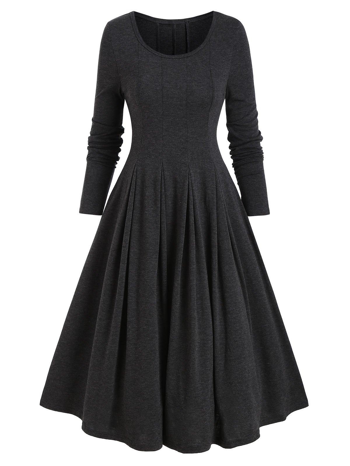 Long Sleeve Heathered Flare Dress