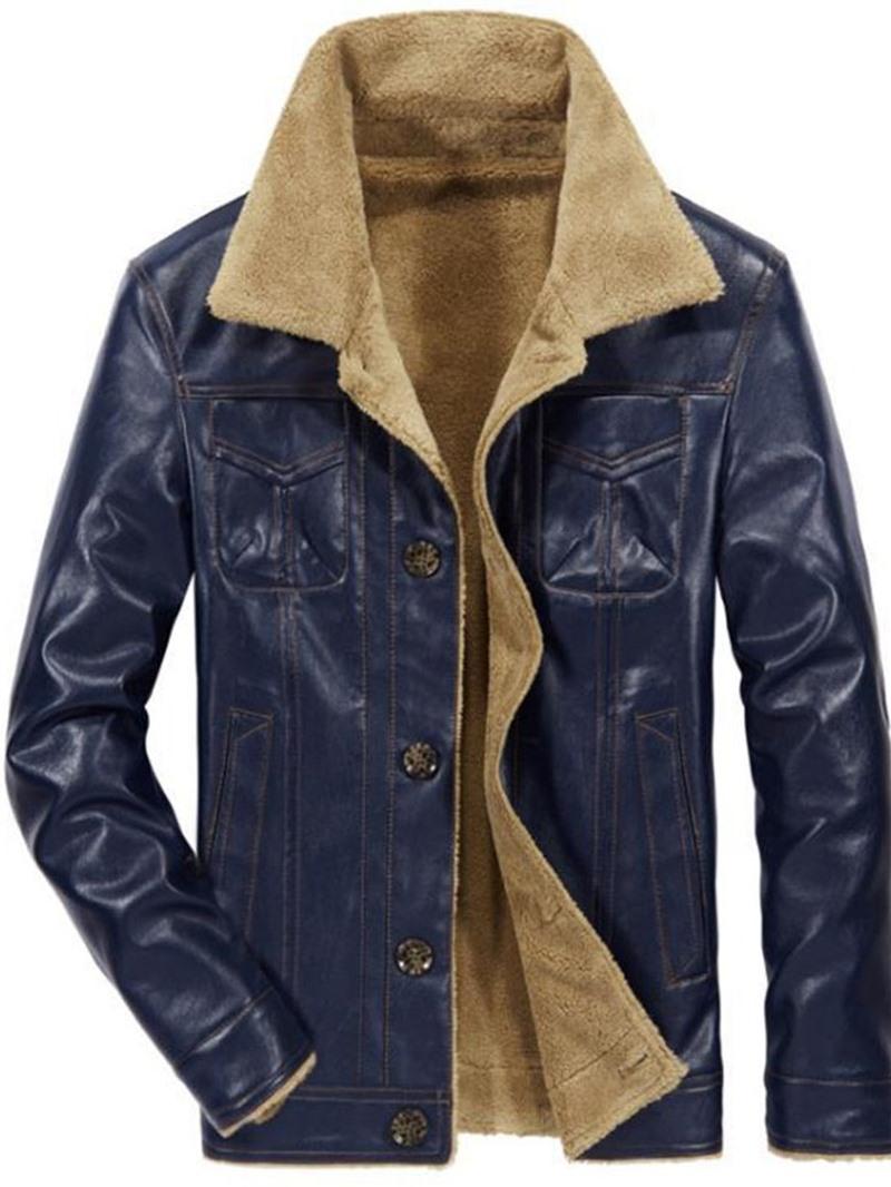 Ericdress Standard Lapel Single-Breasted Men's Leather Jacket