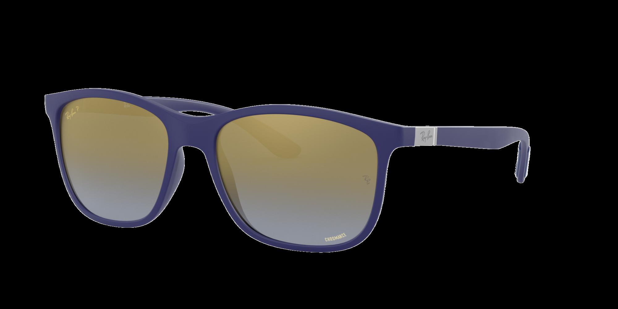 Ray Ban Unisex  RB4330 CHROMANCE -  Frame color: Azul, Lens color: Espejadas azul, Size 56-17/145