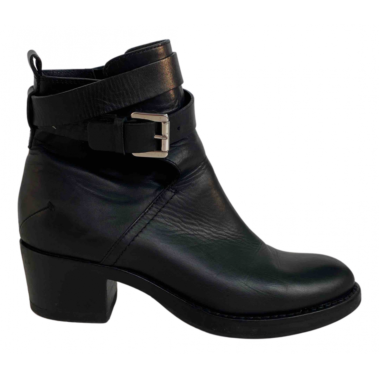 Costume National N Black Leather Boots for Women 38.5 EU
