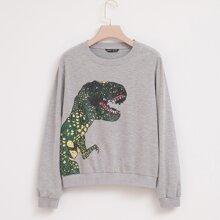Dinosaur Graphic Drop Shoulder Sweatshirt