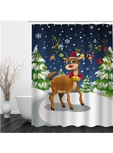 Clip Art Cute Reindeer Printing Christmas Theme Bathroom 3D Shower Curtain