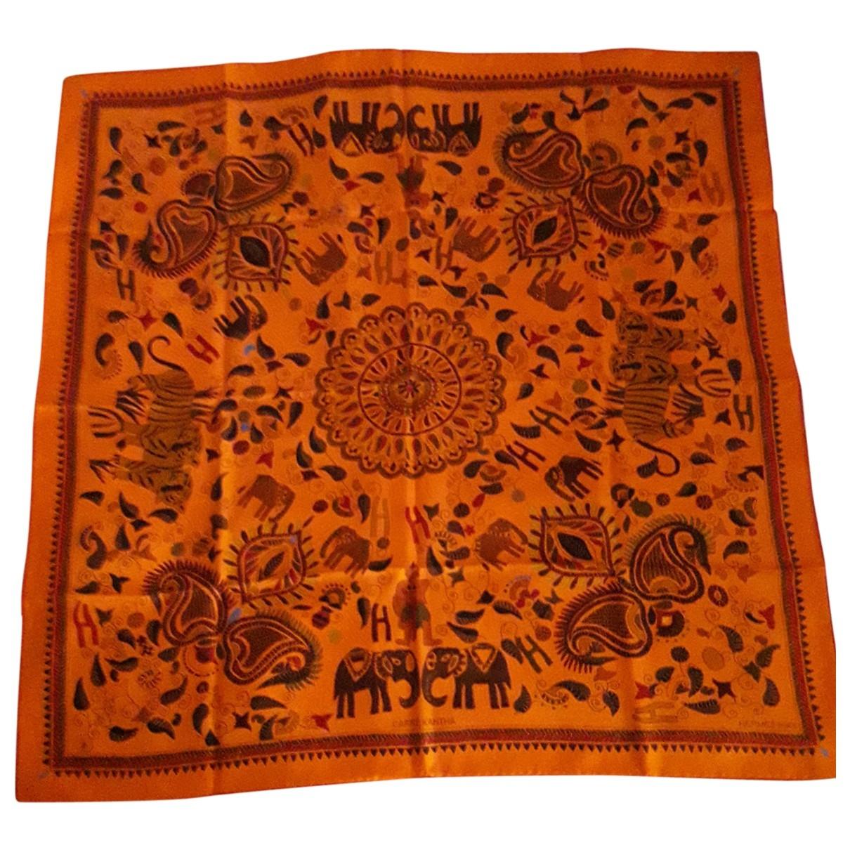 Hermes - Foulard   pour femme en soie - orange