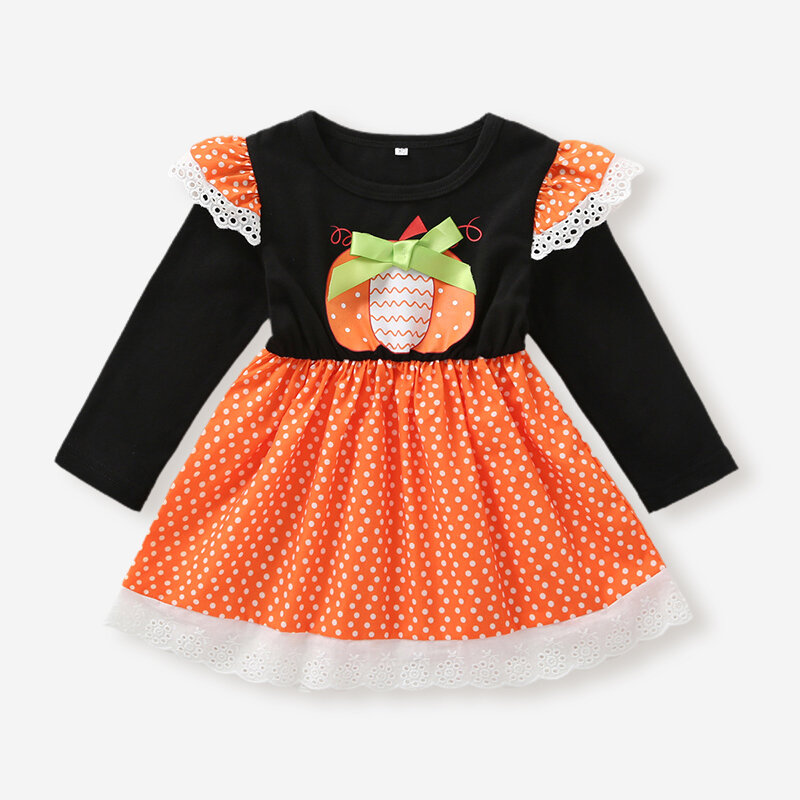 Girl's Flying Sleeves Halloween Print Casual Dress For 1-8Y