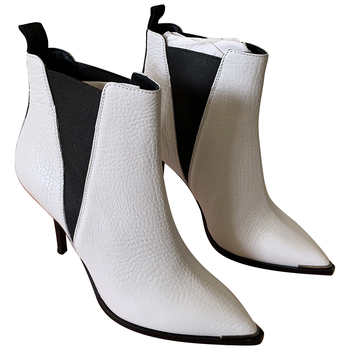 Acne Studios \N White Leather Ankle boots for Women 39 EU