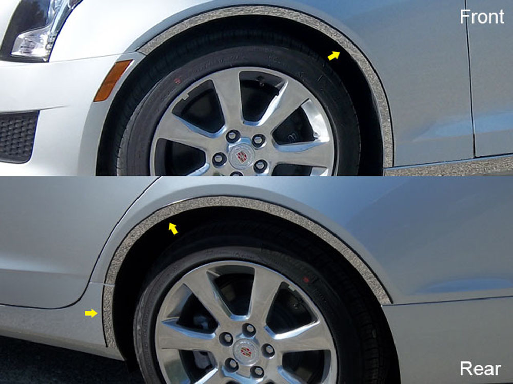 Quality Automotive Accessories 6-Piece Stainless Steel Wheel Well Fender Trim Kit Cadillac ATS 2014