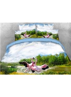 Vivilinen 3D Flamingos Playing in Water Natural Scenery Cotton 4-Piece Bedding Sets/Duvet Covers