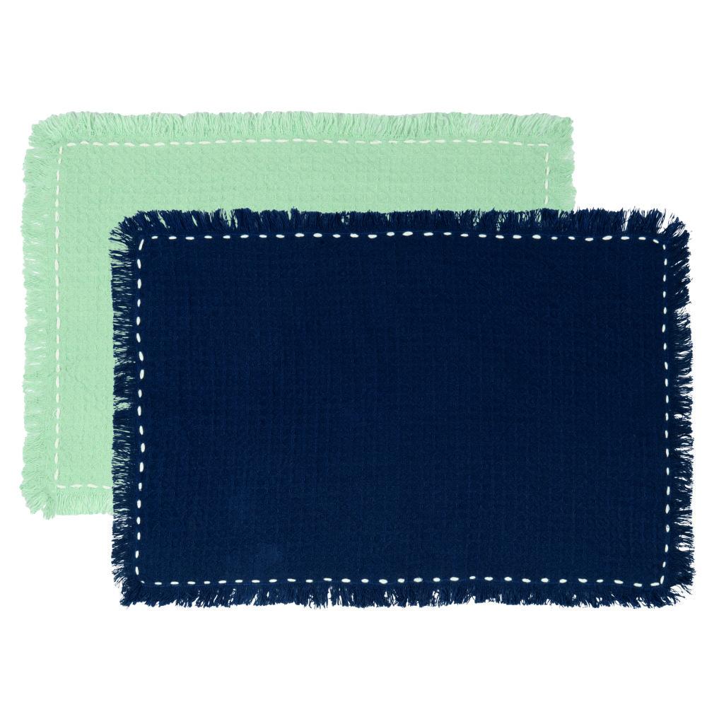 Tischsets aus Baumwolle, marineblau und blau (x2)