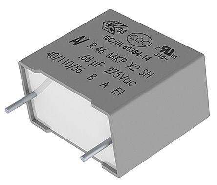 KEMET 470nF Polypropylene Capacitor PP 310 V ac, 630 V dc ±20% Tolerance Through Hole R46 Series (10)