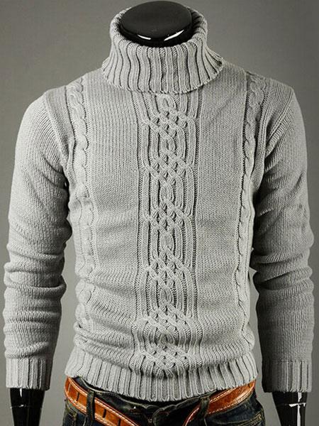 Milanoo Men's Pullover Sweater Light Grey High Collar Long Sleeve Knit Sweater