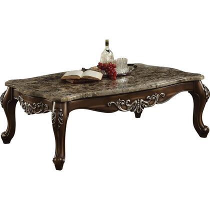 BM177647 Wooden Coffee Table with Marble Top in Antique Oak