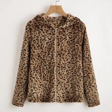 Teddy Mantel mit Leopard Muster und Kapuze