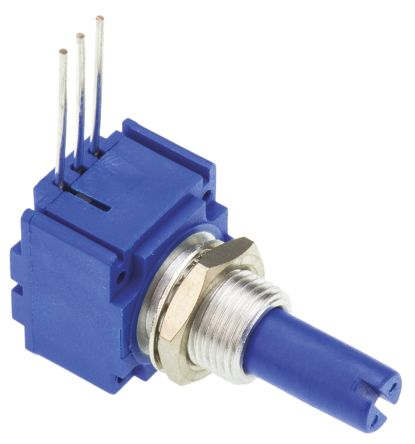 Bourns 1 Gang Rotary Conductive Plastic Potentiometer with an 6.35 mm Dia. Shaft - 10kΩ, ±10%, 0.5W Power Rating,