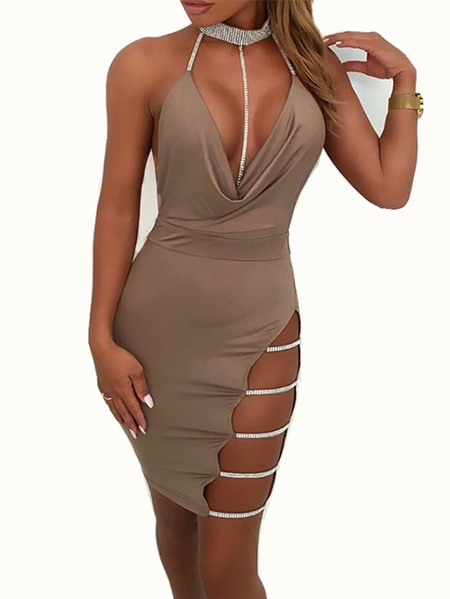 Yoins Backless Slit Design Rhinestone Halter Sleeveless Dress