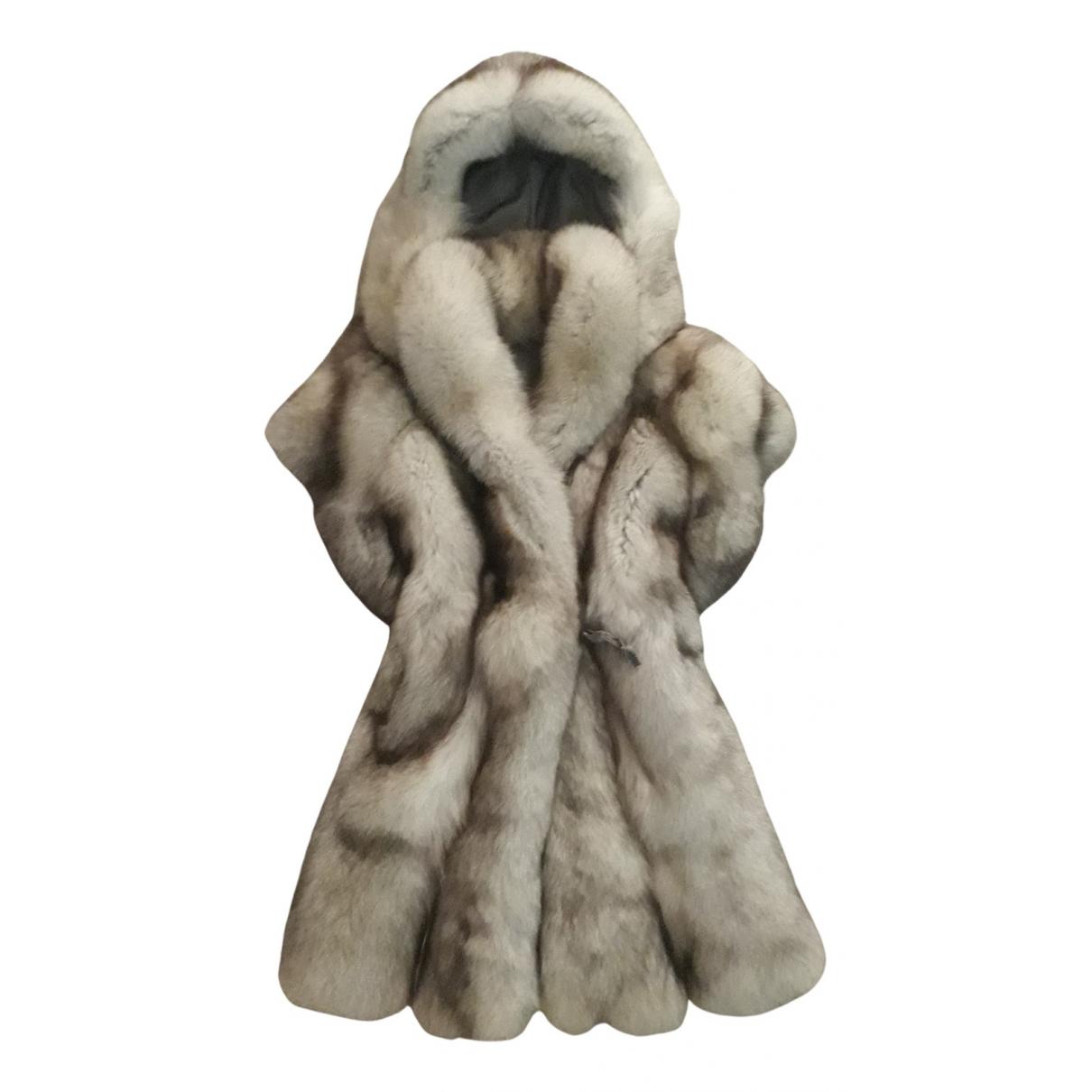 - Manteau   pour femme en renard - argente