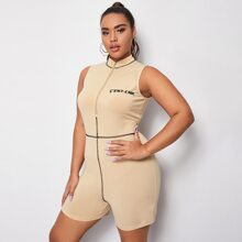 Plus Contrast Stitch Embroidered Letter Romper