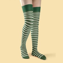 Striped Pattern Thigh Length Socks