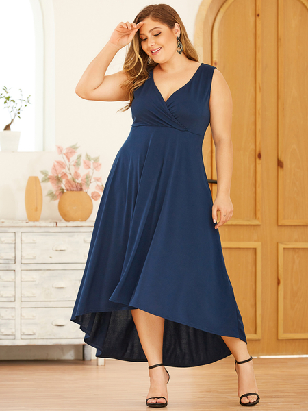 YOINS Plus Size Navy Deep V Neck Wrap Sleeveless Dress