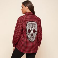 Plus Skull Embroidery Mesh Panel Gingham Blouse