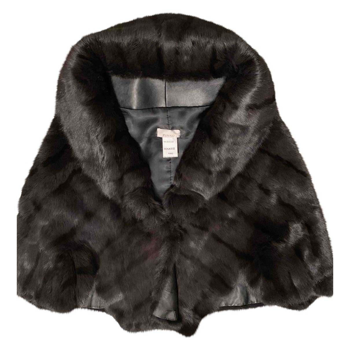 Pinko - Manteau   pour femme en fourrure - noir