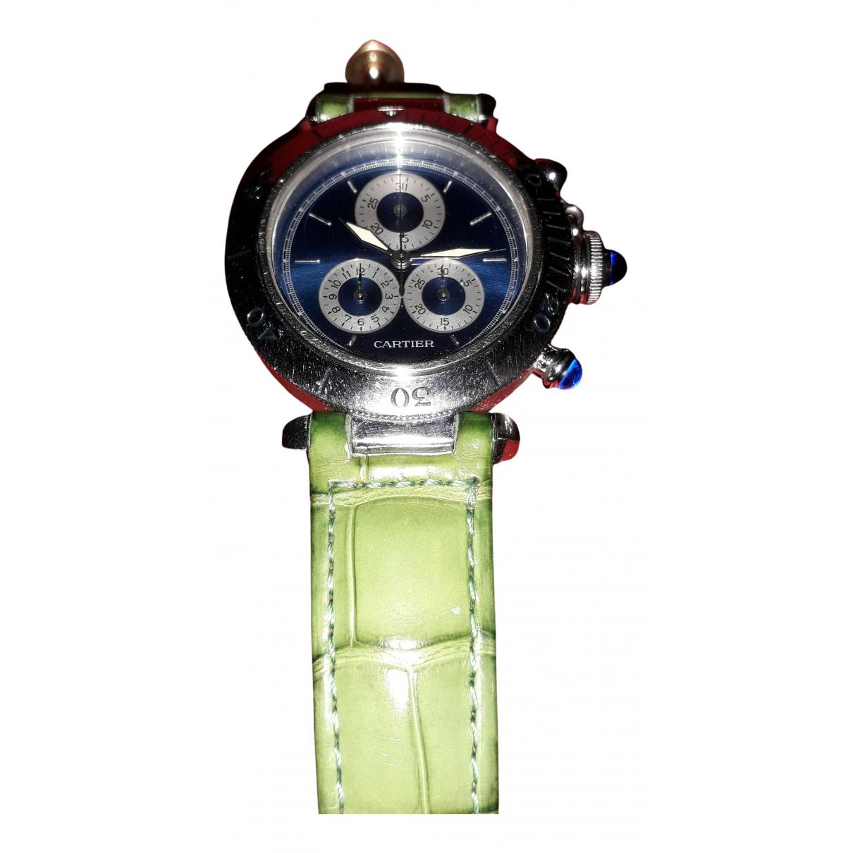 Cartier Pasha Chronographe Silver Steel watch for Women N