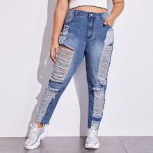 Plus Bleach Wash Ripped Raw Hem Jeans