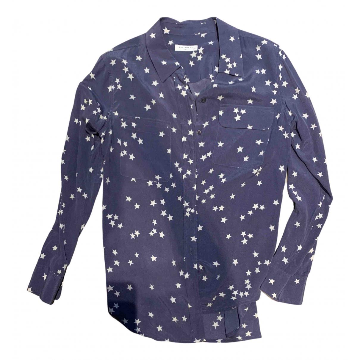 Equipment - Top   pour femme en soie - bleu