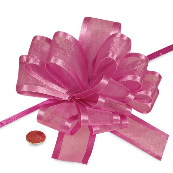 Satin Hot Pink Arabesque Ribbon Pull Bow 6