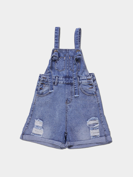 Yoins Casual Blue Hole Denim Strap Short