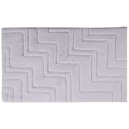Castle Hill London Zig Zag Bath Rug Collection, One Size , White