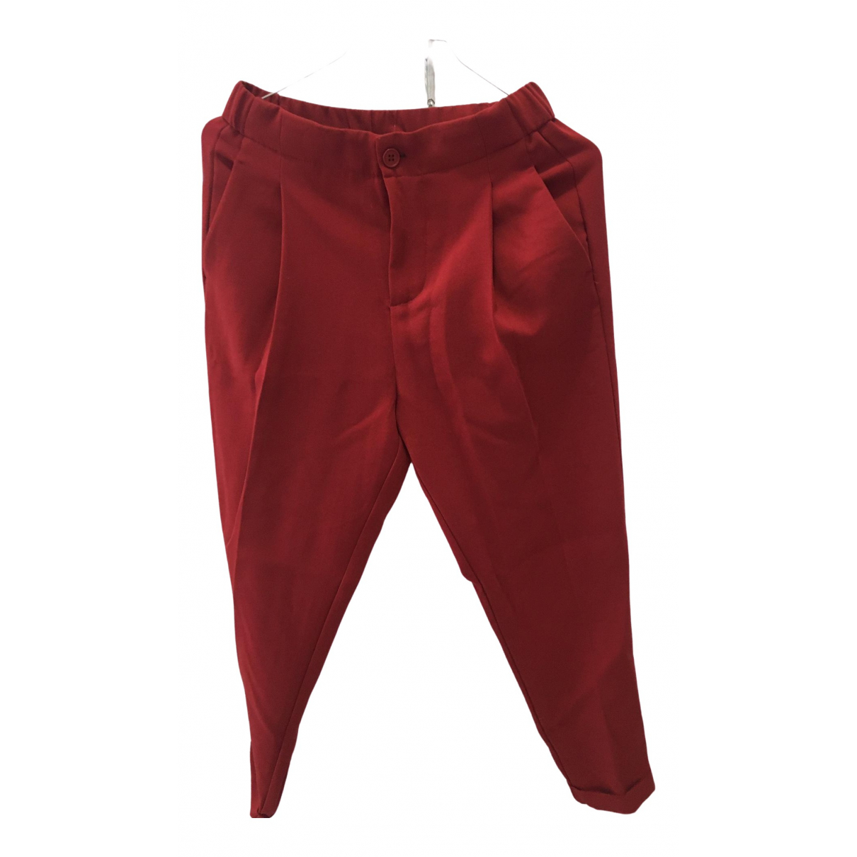 Benetton \N Red Cotton Trousers for Women 40 IT