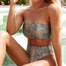 Croc Metallic Bandeau Bikini-Badeanzug mit hoher Taille