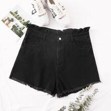 Plus Paperbag Waist Raw Hem Denim Shorts