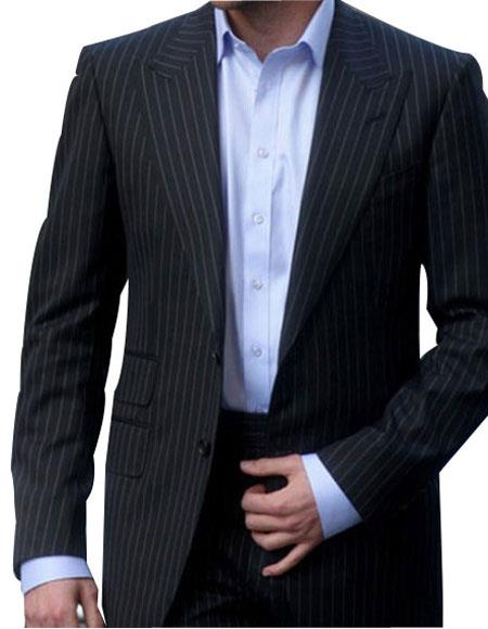 Men's 2 Button Single Breasted Peak Lapel Charcoal Ticket Pockets Suit