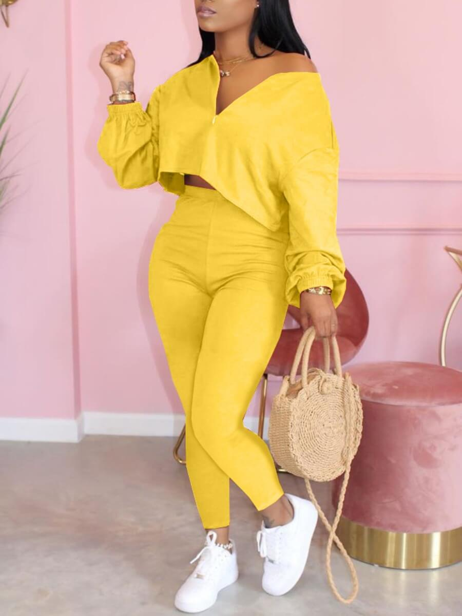 LW Lovely Casual Patchwork Yellow Two Piece Pants Set
