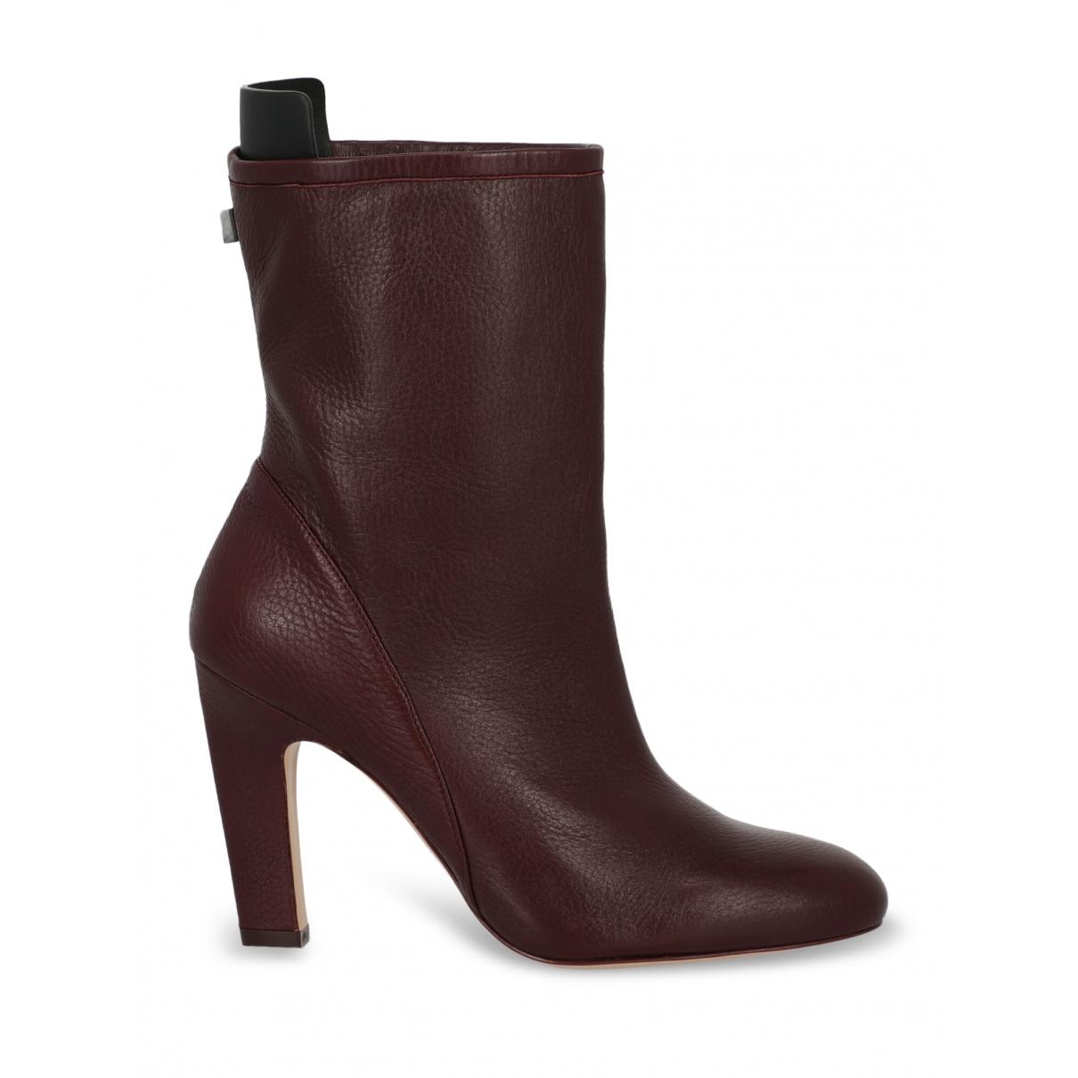 Stuart Weitzman - Boots   pour femme en cuir - bordeaux