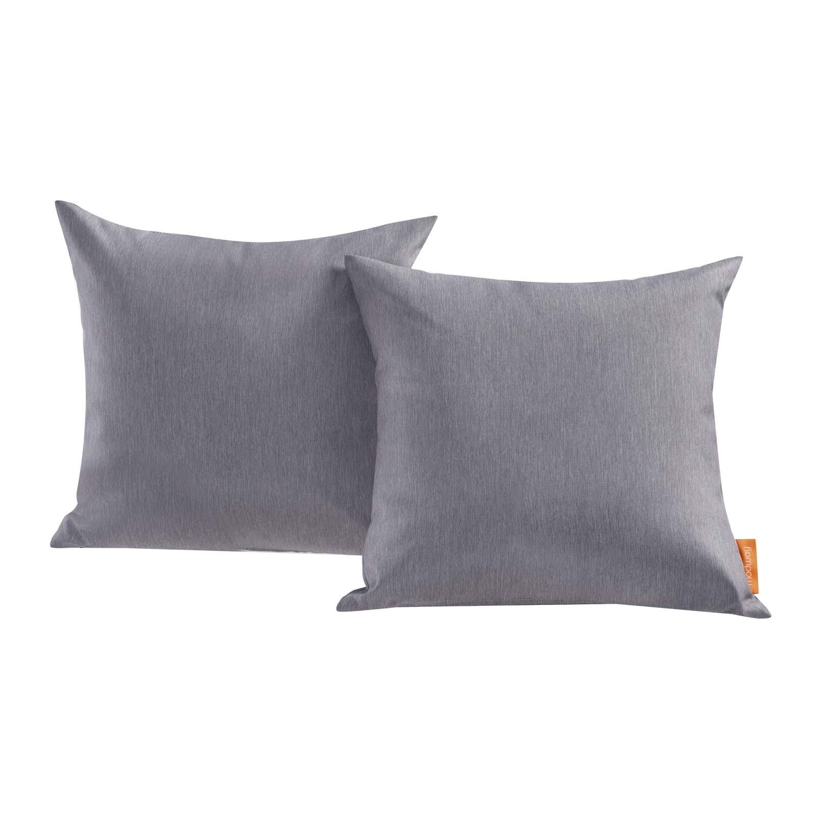 Convene Two Piece Outdoor Patio Pillow Set in Gray