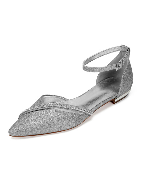 Milanoo Silver Wedding Shoes Glitter Party Shoes Pointed Toe Rhinestones Bridesmaid Flats