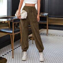 Pantalones teddy de cintura elastica unicolor