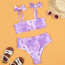 Gerippter Bikini Badeanzug mit Batik und Schleife Detail