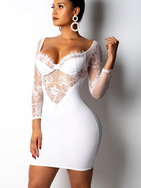 Milanoo Sexy Club Dress Off The Shoulder Bodycon Dress Lace Long Sleeve Backless Shaping Mini Dress