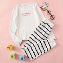 Girls Slogan Graphic Contrast Lettuce Edge Tee and Pants PJ Set