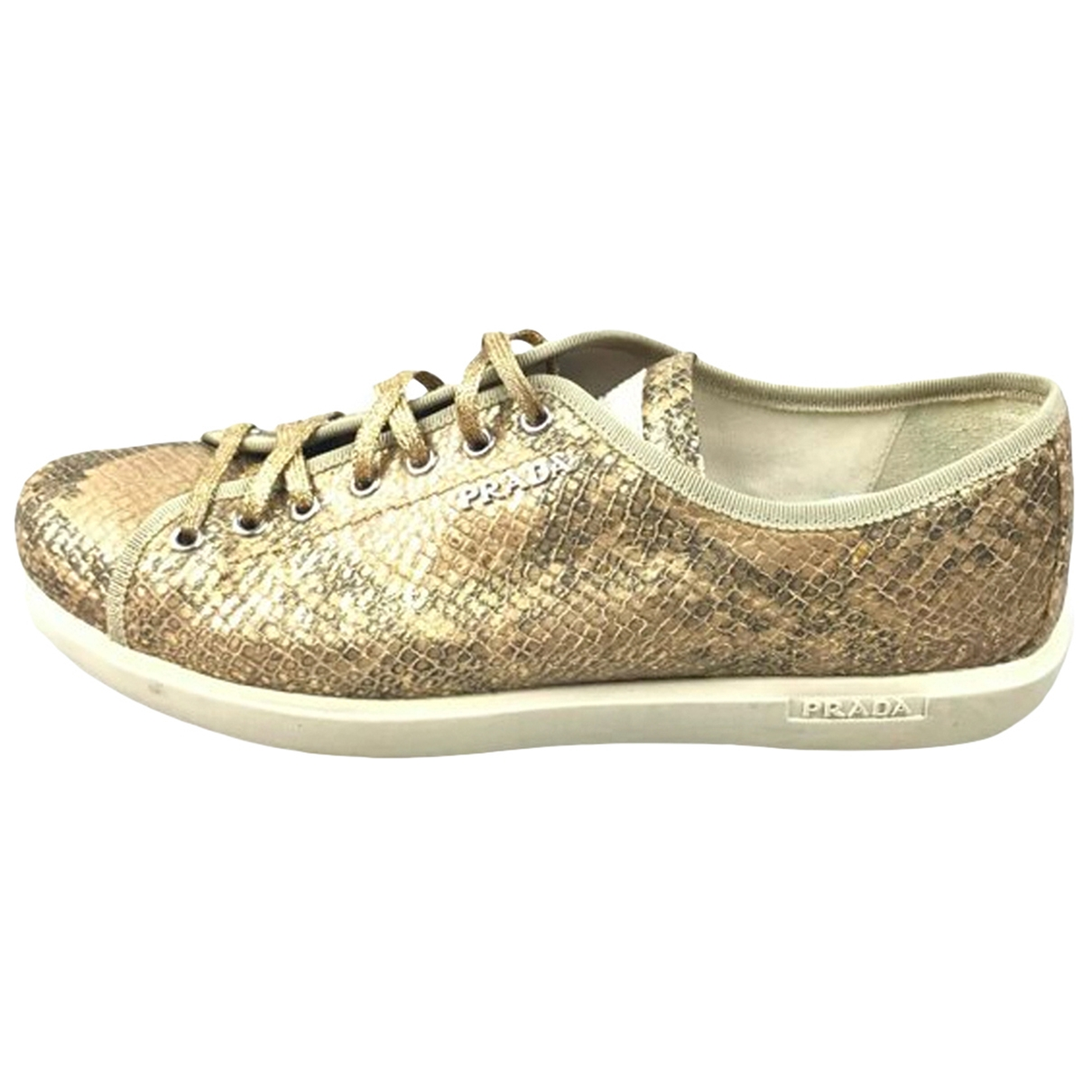 Prada \N Gold Leather Lace ups for Women 40.5 EU