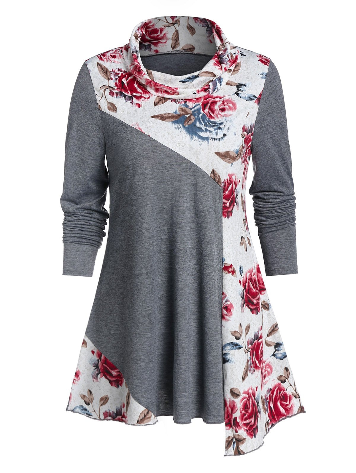 Cowl Neck Flower Print Long Sleeve Tunic Tee