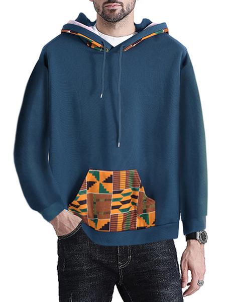 Yoins INCERUN Men Sweatshirt African Printing Drawstring Casual Hooded