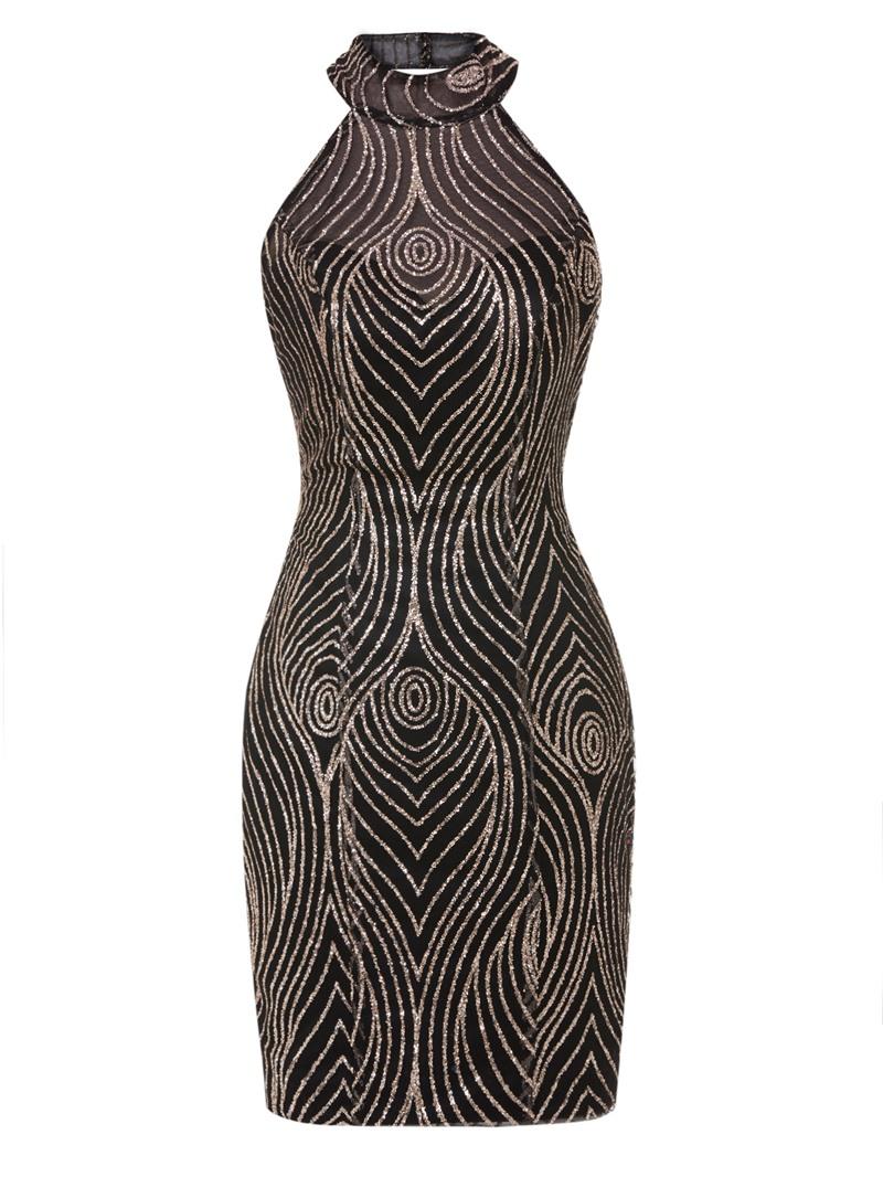 Ericdress Halter Neck Backless Sequins Short Bodycon Homecoming Dress
